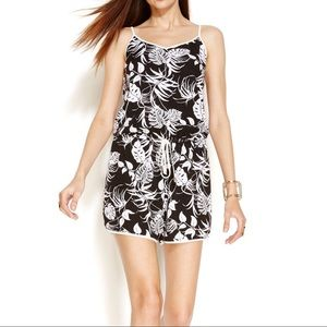 Vince Camuto Sleeveless Tropical Stencil Romper